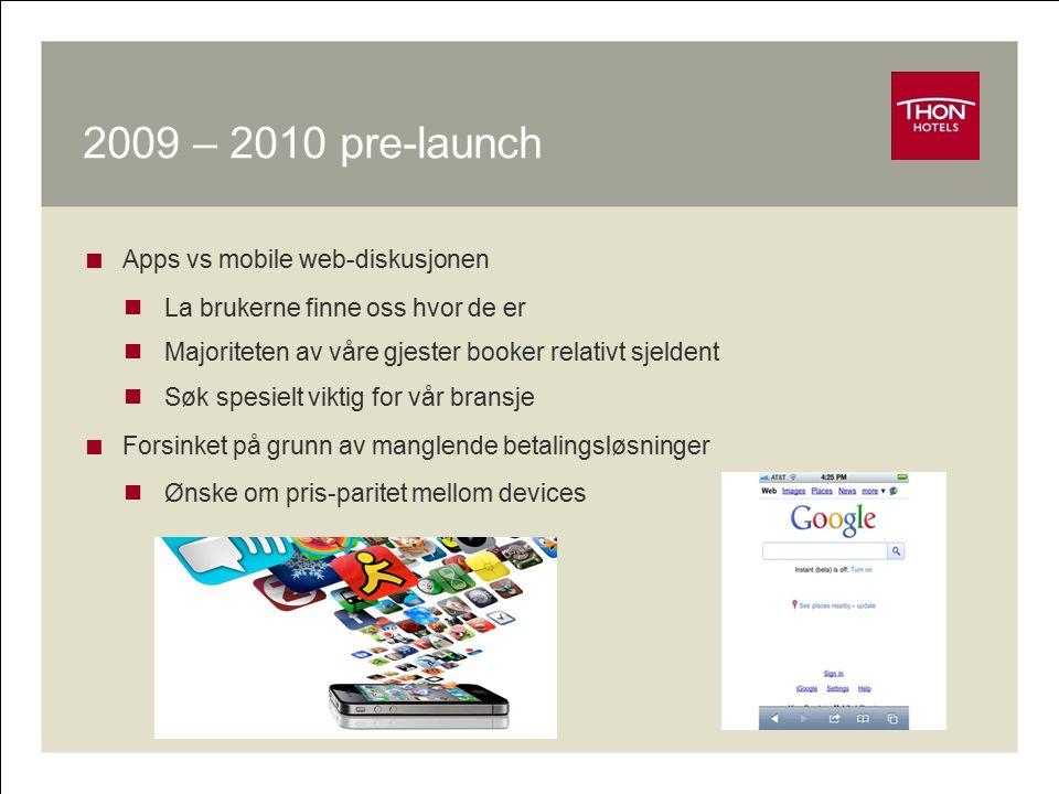 2009 – 2010 pre-launch  Apps vs mobile web-diskusjonen La brukerne finne oss hvor de er Majoriteten av våre gjester booker relativt sjeldent Søk spes