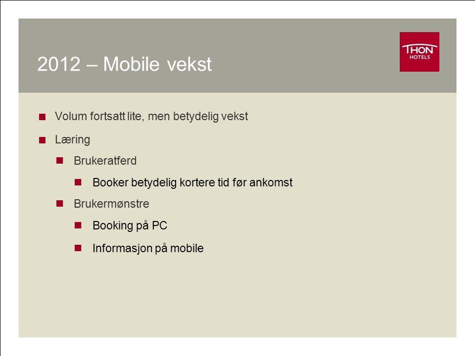 2012 – Mobile vekst  Volum fortsatt lite, men betydelig vekst  Læring Brukeratferd Booker betydelig kortere tid før ankomst Brukermønstre Booking på
