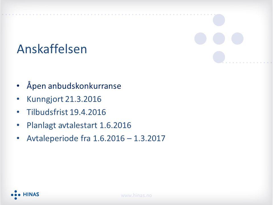 Anskaffelsen Åpen anbudskonkurranse Kunngjort 21.3.2016 Tilbudsfrist 19.4.2016 Planlagt avtalestart 1.6.2016 Avtaleperiode fra 1.6.2016 – 1.3.2017
