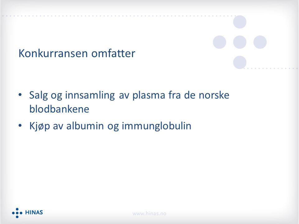 Konkurransen omfatter Salg og innsamling av plasma fra de norske blodbankene Kjøp av albumin og immunglobulin