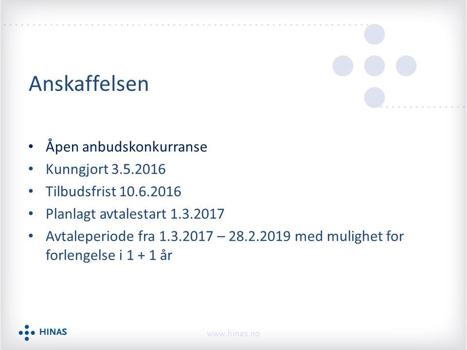 Anskaffelsen Åpen anbudskonkurranse Kunngjort 3.5.2016 Tilbudsfrist 10.6.2016 Planlagt avtalestart 1.3.2017 Avtaleperiode fra 1.3.2017 – 28.2.2019 med mulighet for forlengelse i 1 + 1 år