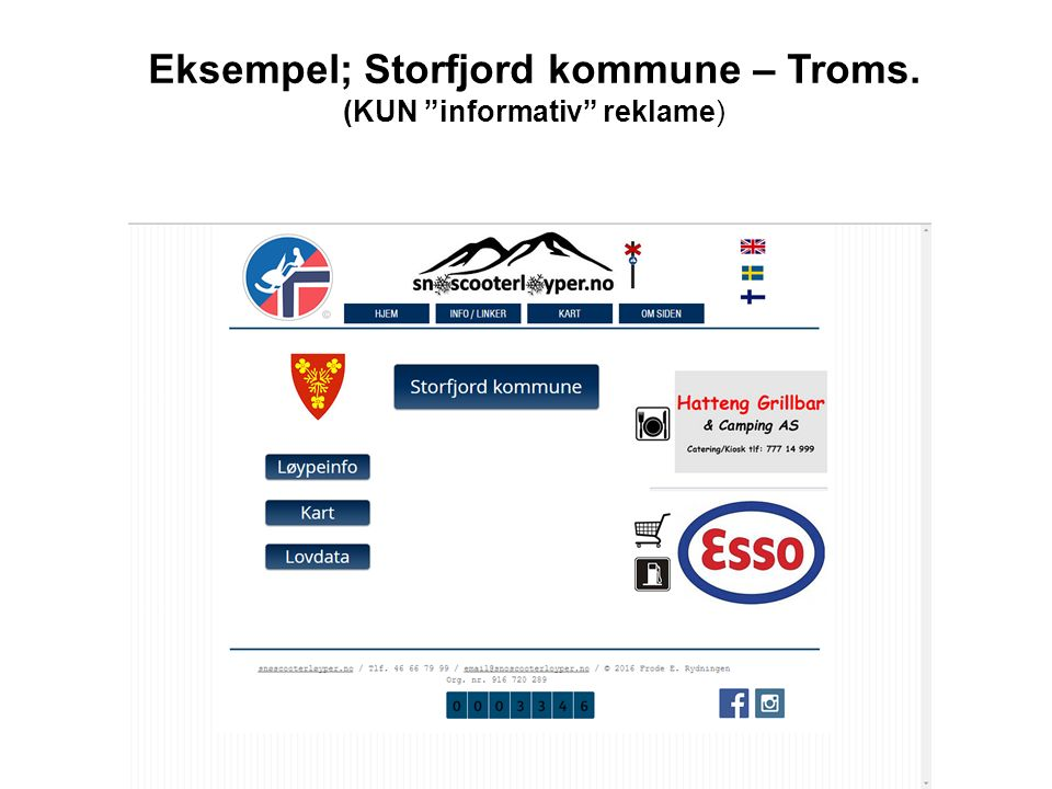 Eksempel; Storfjord kommune – Troms. (KUN informativ reklame)