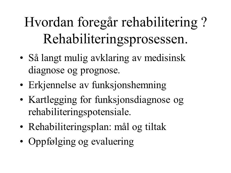 Hvordan foregår rehabilitering . Rehabiliteringsprosessen.