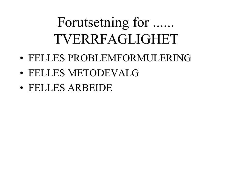 Forutsetning for...... TVERRFAGLIGHET FELLES PROBLEMFORMULERING FELLES METODEVALG FELLES ARBEIDE