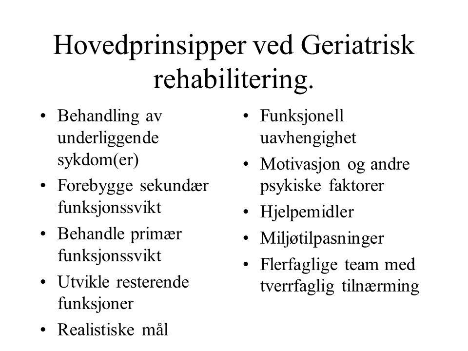 Hovedprinsipper ved Geriatrisk rehabilitering.