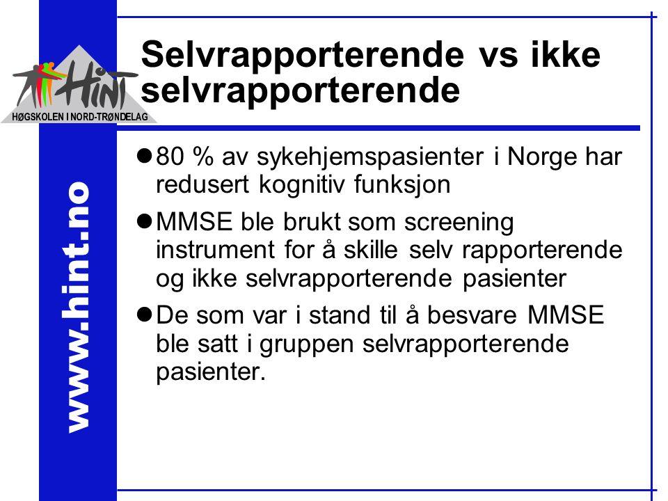 www.hint.no Selvrapporterende vs ikke selvrapporterende l80 % av sykehjemspasienter i Norge har redusert kognitiv funksjon lMMSE ble brukt som screening instrument for å skille selv rapporterende og ikke selvrapporterende pasienter lDe som var i stand til å besvare MMSE ble satt i gruppen selvrapporterende pasienter.