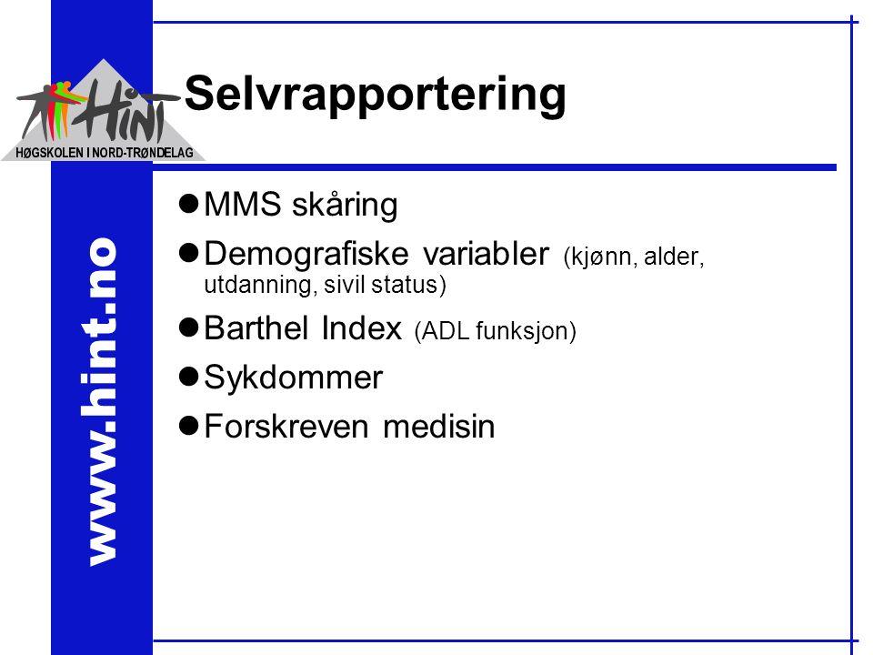 www.hint.no Selvrapportering lMMS skåring lDemografiske variabler (kjønn, alder, utdanning, sivil status) lBarthel Index (ADL funksjon) lSykdommer lForskreven medisin