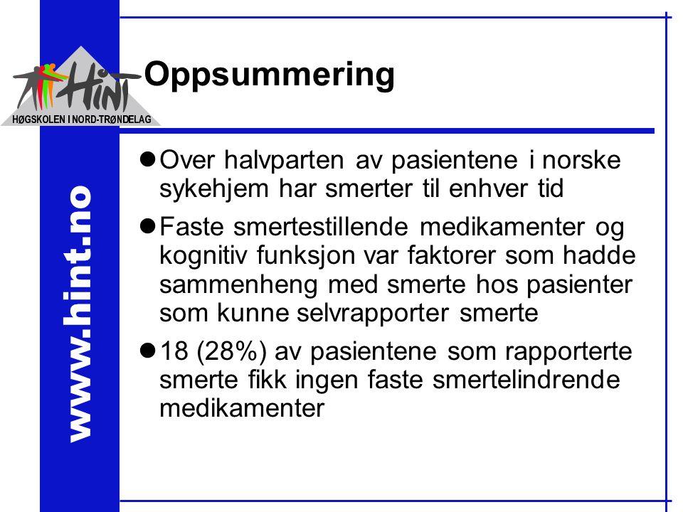 www.hint.no Oppsummering lOver halvparten av pasientene i norske sykehjem har smerter til enhver tid lFaste smertestillende medikamenter og kognitiv funksjon var faktorer som hadde sammenheng med smerte hos pasienter som kunne selvrapporter smerte l18 (28%) av pasientene som rapporterte smerte fikk ingen faste smertelindrende medikamenter