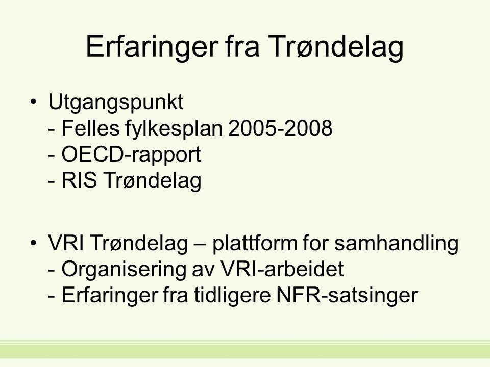 Erfaringer fra Trøndelag Utgangspunkt - Felles fylkesplan 2005-2008 - OECD-rapport - RIS Trøndelag VRI Trøndelag – plattform for samhandling - Organisering av VRI-arbeidet - Erfaringer fra tidligere NFR-satsinger