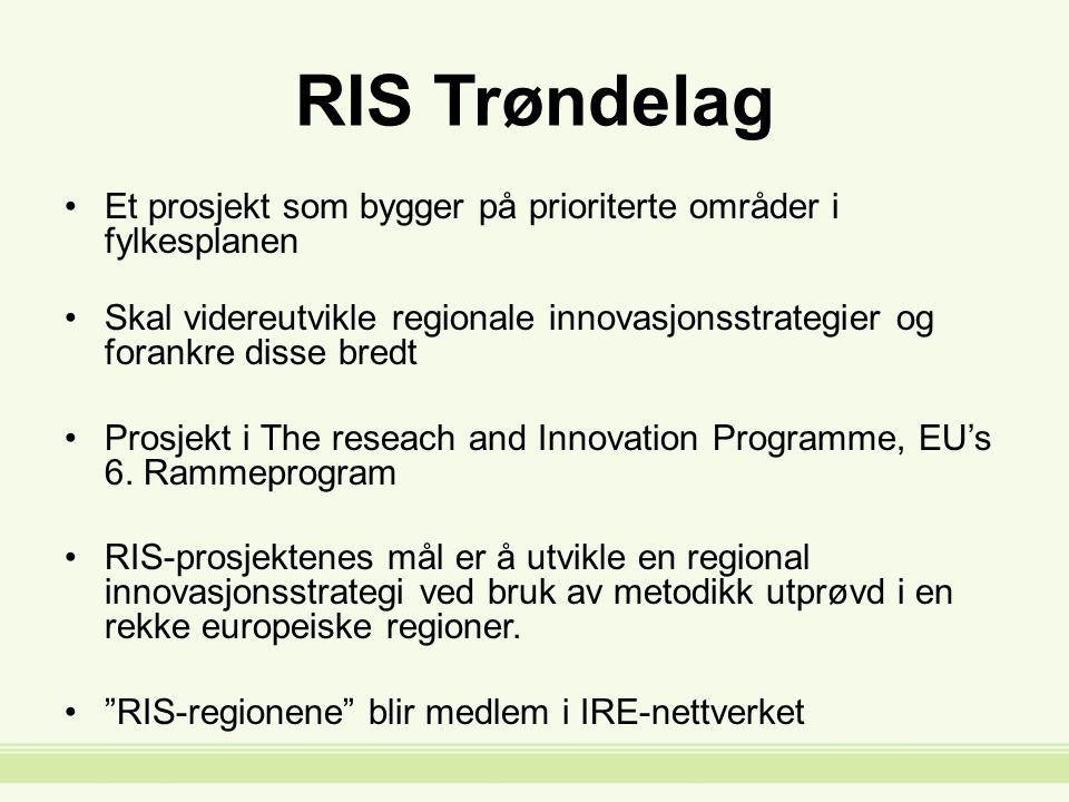 RIS Trøndelag Et prosjekt som bygger på prioriterte områder i fylkesplanen Skal videreutvikle regionale innovasjonsstrategier og forankre disse bredt Prosjekt i The reseach and Innovation Programme, EU's 6.