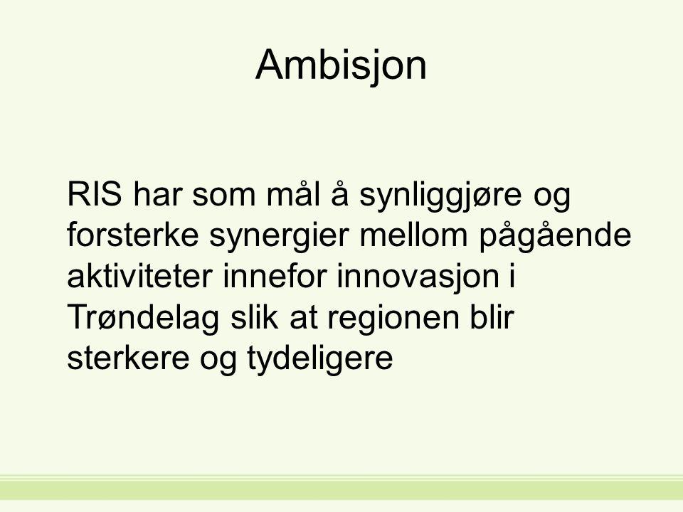 Ambisjon RIS har som mål å synliggjøre og forsterke synergier mellom pågående aktiviteter innefor innovasjon i Trøndelag slik at regionen blir sterkere og tydeligere