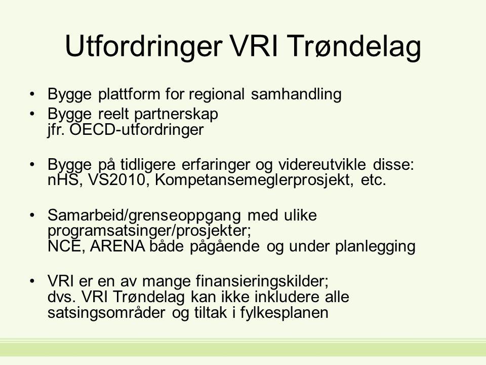 Utfordringer VRI Trøndelag Bygge plattform for regional samhandling Bygge reelt partnerskap jfr.