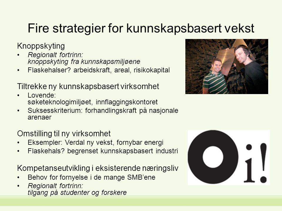 Fire strategier for kunnskapsbasert vekst Knoppskyting Regionalt fortrinn: knoppskyting fra kunnskapsmiljøene Flaskehalser.