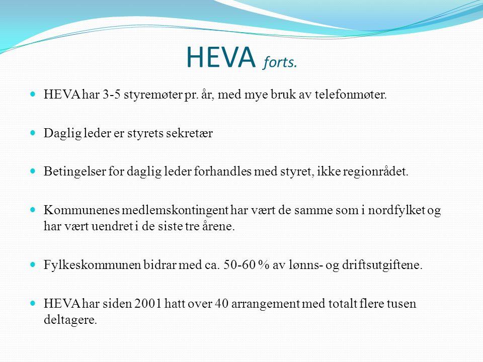 HEVA forts. HEVA har 3-5 styremøter pr. år, med mye bruk av telefonmøter. Daglig leder er styrets sekretær Betingelser for daglig leder forhandles med