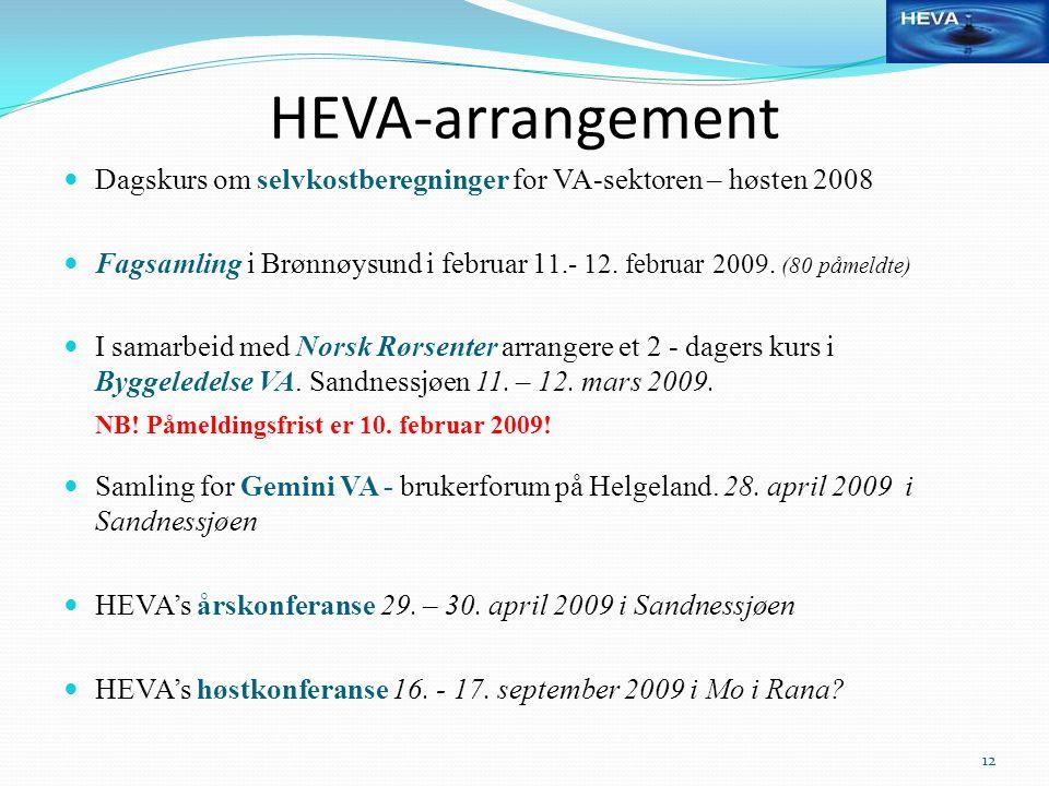 HEVA-arrangement Dagskurs om selvkostberegninger for VA-sektoren – høsten 2008 Fagsamling i Brønnøysund i februar 1 1.- 12. februar 2009. (80 påmeldte
