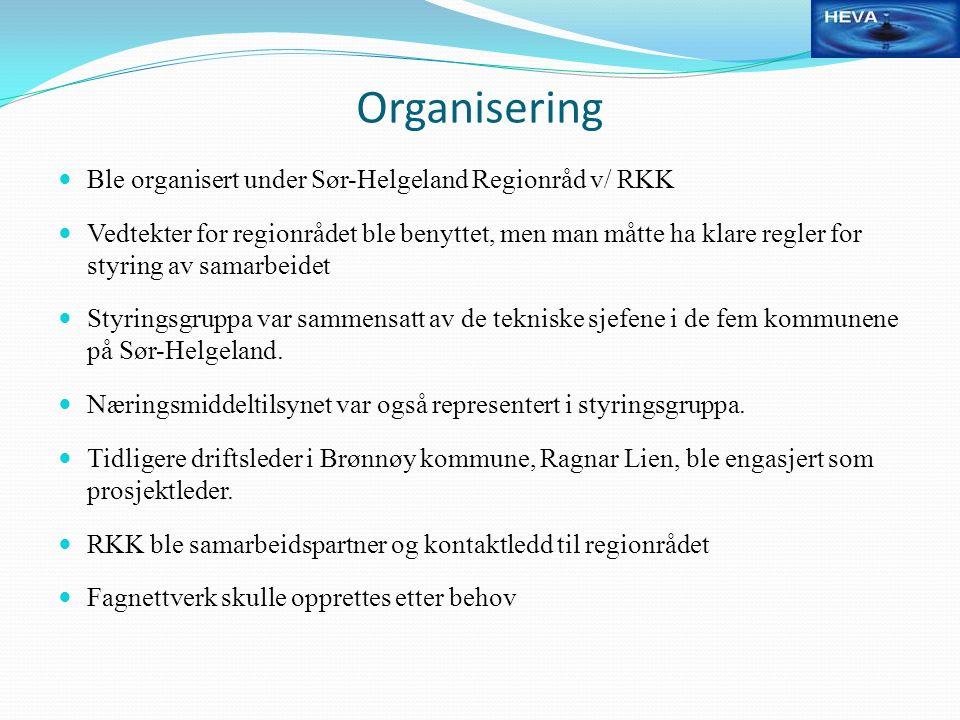 Organisering Ble organisert under Sør-Helgeland Regionråd v/ RKK Vedtekter for regionrådet ble benyttet, men man måtte ha klare regler for styring av samarbeidet Styringsgruppa var sammensatt av de tekniske sjefene i de fem kommunene på Sør-Helgeland.