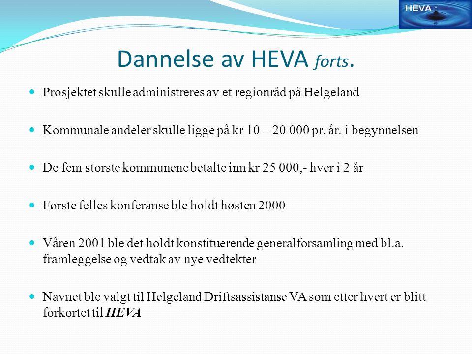 Dannelse av HEVA forts. Prosjektet skulle administreres av et regionråd på Helgeland Kommunale andeler skulle ligge på kr 10 – 20 000 pr. år. i begynn