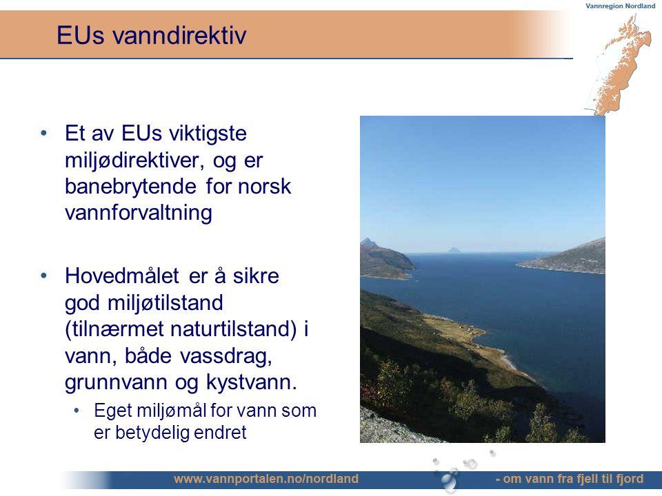EUs vanndirektiv Et av EUs viktigste miljødirektiver, og er banebrytende for norsk vannforvaltning Hovedmålet er å sikre god miljøtilstand (tilnærmet naturtilstand) i vann, både vassdrag, grunnvann og kystvann.