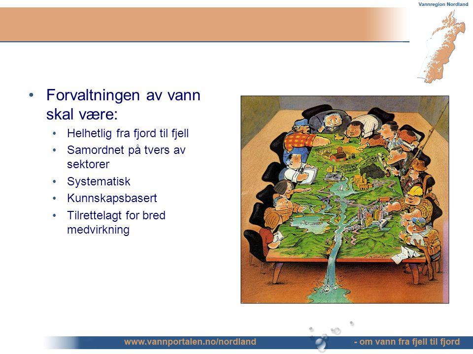 Forvaltningen av vann skal være: Helhetlig fra fjord til fjell Samordnet på tvers av sektorer Systematisk Kunnskapsbasert Tilrettelagt for bred medvirkning