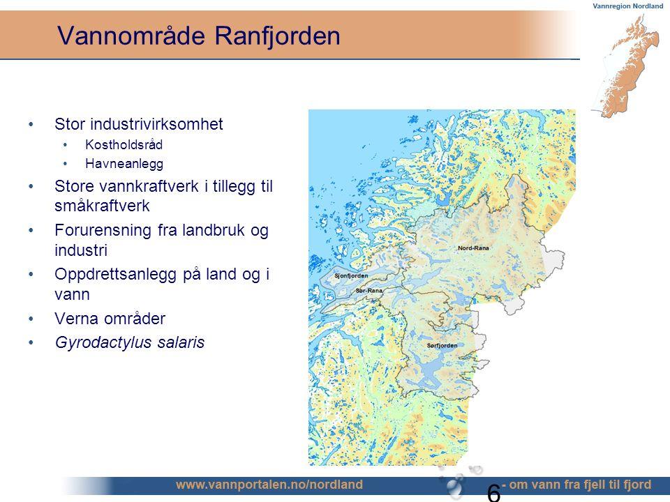6 Vannområde Ranfjorden Stor industrivirksomhet Kostholdsråd Havneanlegg Store vannkraftverk i tillegg til småkraftverk Forurensning fra landbruk og industri Oppdrettsanlegg på land og i vann Verna områder Gyrodactylus salaris