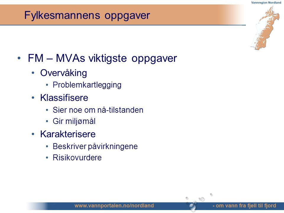 Fylkesmannens oppgaver FM – MVAs viktigste oppgaver Overvåking Problemkartlegging Klassifisere Sier noe om nå-tilstanden Gir miljømål Karakterisere Beskriver påvirkningene Risikovurdere