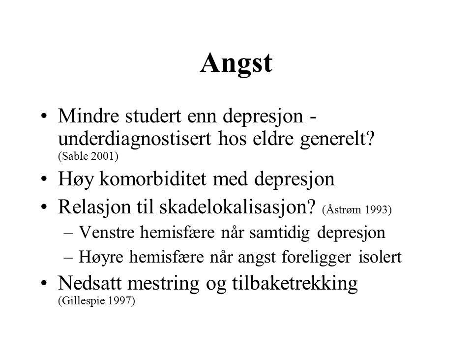 Angst Mindre studert enn depresjon - underdiagnostisert hos eldre generelt.