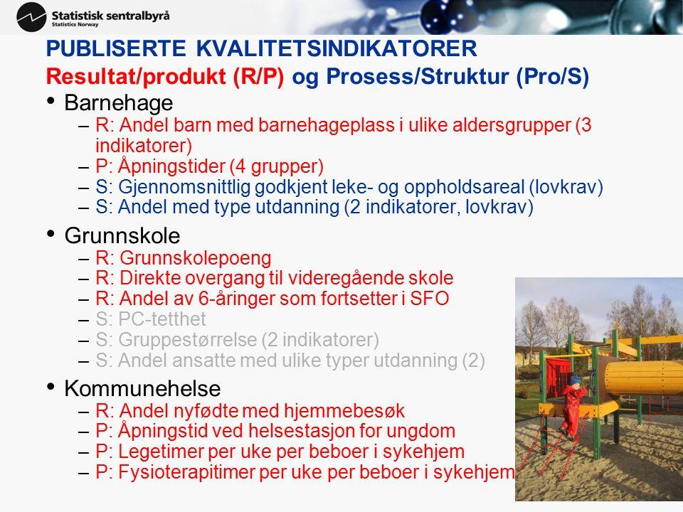 PUBLISERTE KVALITETSINDIKATORER Resultat/produkt (R/P) og Prosess/Struktur (Pro/S) Barnehage –R: Andel barn med barnehageplass i ulike aldersgrupper (3 indikatorer) –P: Åpningstider (4 grupper) –S: Gjennomsnittlig godkjent leke- og oppholdsareal (lovkrav) –S: Andel med type utdanning (2 indikatorer, lovkrav) Grunnskole –R: Grunnskolepoeng –R: Direkte overgang til videregående skole –R: Andel av 6-åringer som fortsetter i SFO –S: PC-tetthet –S: Gruppestørrelse (2 indikatorer) –S: Andel ansatte med ulike typer utdanning (2) Kommunehelse –R: Andel nyfødte med hjemmebesøk –P: Åpningstid ved helsestasjon for ungdom –P: Legetimer per uke per beboer i sykehjem –P: Fysioterapitimer per uke per beboer i sykehjem