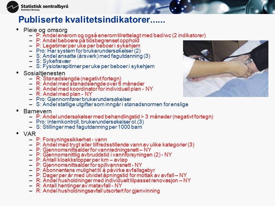 Publiserte kvalitetsindikatorer...... Pleie og omsorg –P: Andel enerom og også enerom tilrettelagt med bad/wc (2 indikatorer) –P: Andel beboere på tid