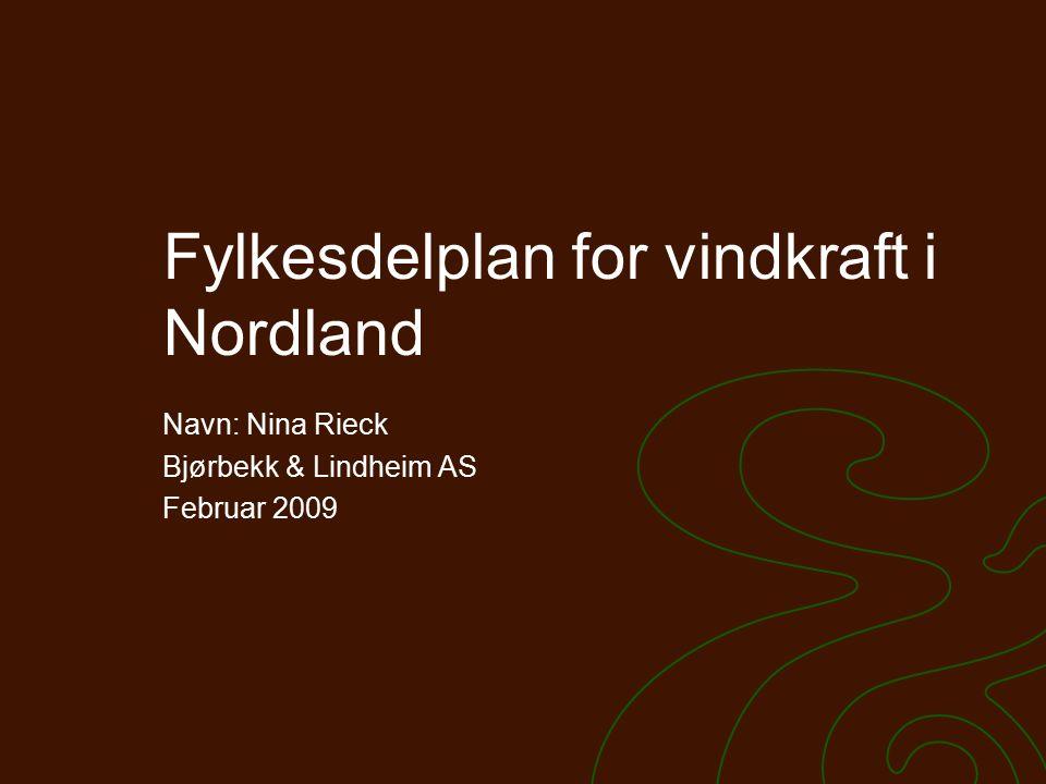 Fylkesdelplan for vindkraft i Nordland Navn: Nina Rieck Bjørbekk & Lindheim AS Februar 2009