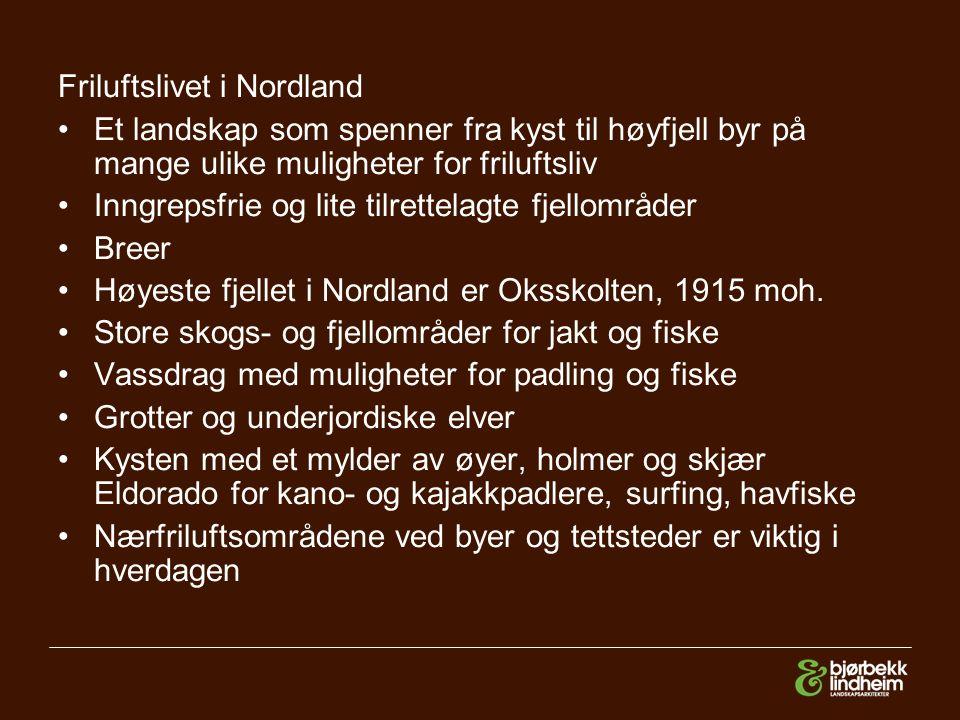 Friluftslivet i Nordland Et landskap som spenner fra kyst til høyfjell byr på mange ulike muligheter for friluftsliv Inngrepsfrie og lite tilrettelagte fjellområder Breer Høyeste fjellet i Nordland er Oksskolten, 1915 moh.