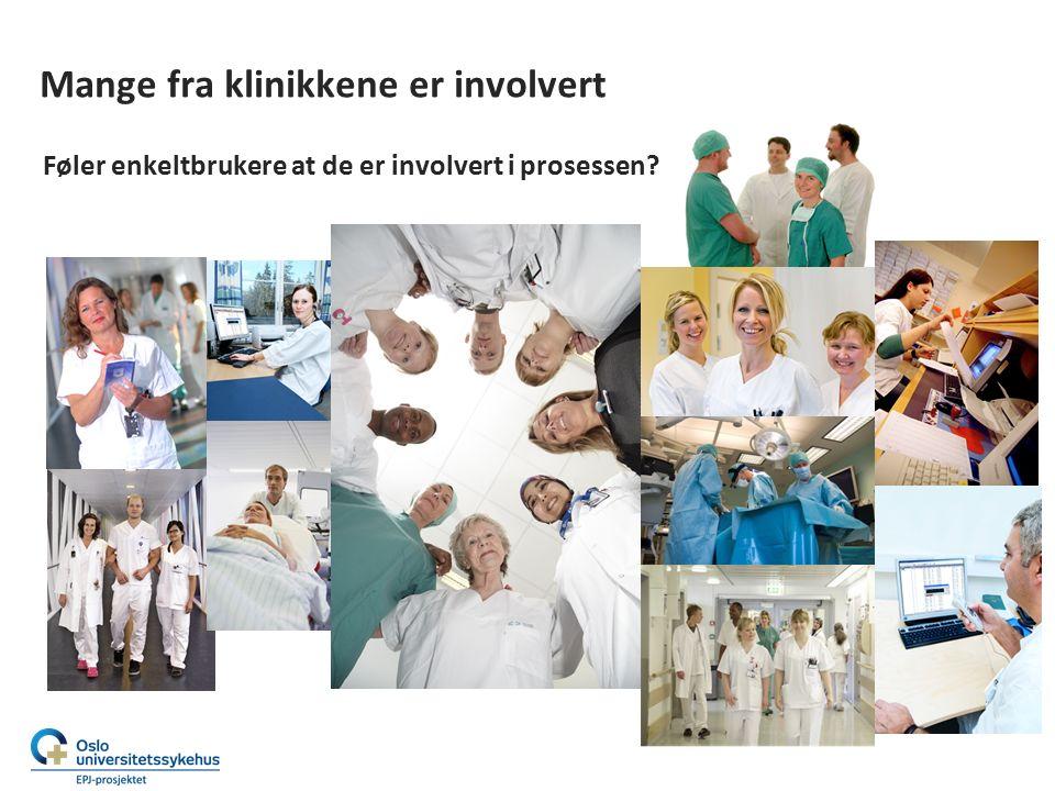 Mange fra klinikkene er involvert Føler enkeltbrukere at de er involvert i prosessen? Tja…