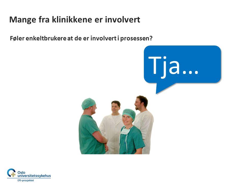 Mange fra klinikkene er involvert Føler enkeltbrukere at de er involvert i prosessen Tja…
