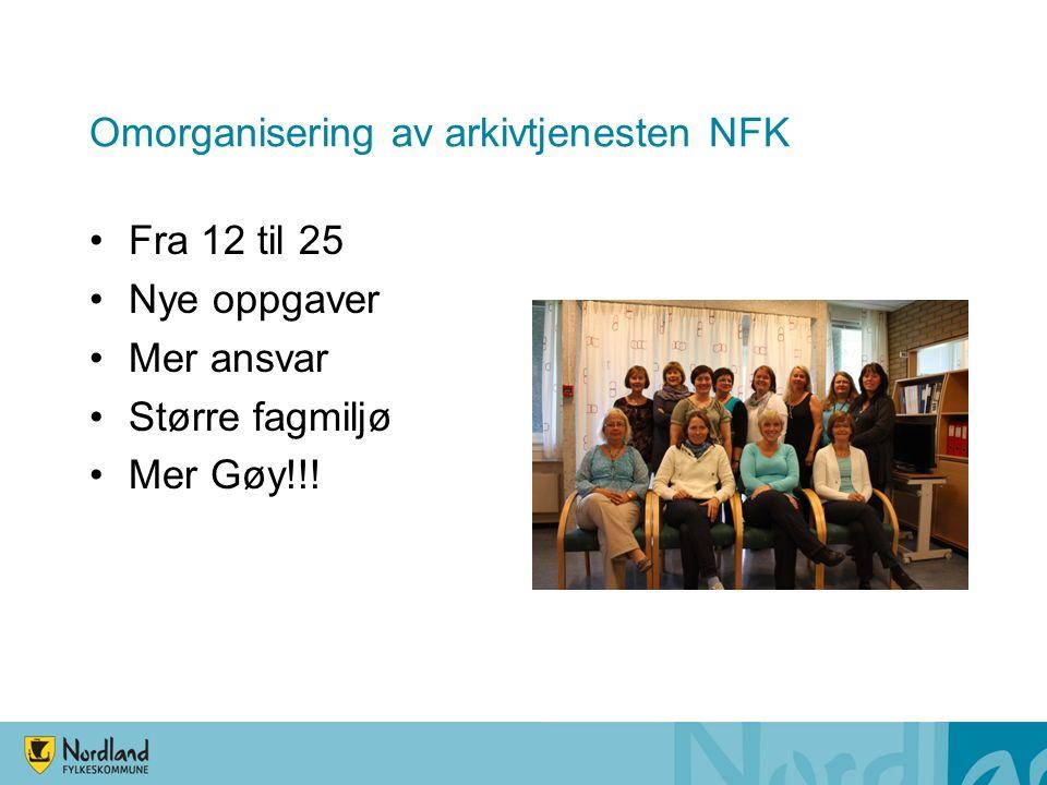 Omorganisering av arkivtjenesten NFK Fra 12 til 25 Nye oppgaver Mer ansvar Større fagmiljø Mer Gøy!!!