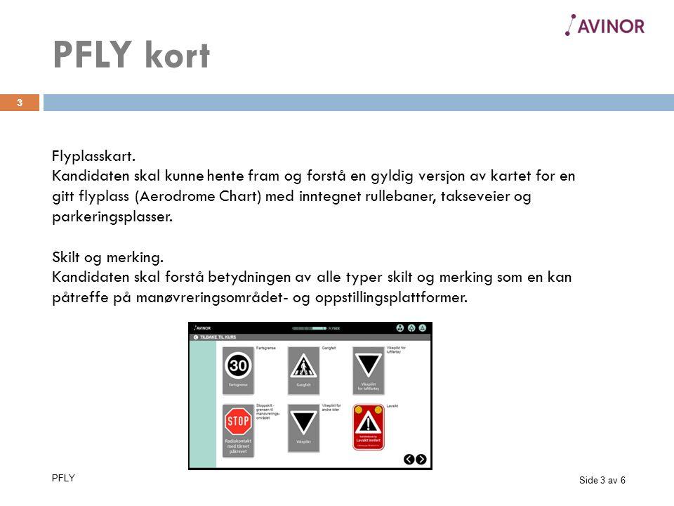 Side 3 av 6 PFLY 3 Flyplasskart. Kandidaten skal kunne hente fram og forstå en gyldig versjon av kartet for en gitt flyplass (Aerodrome Chart) med inn