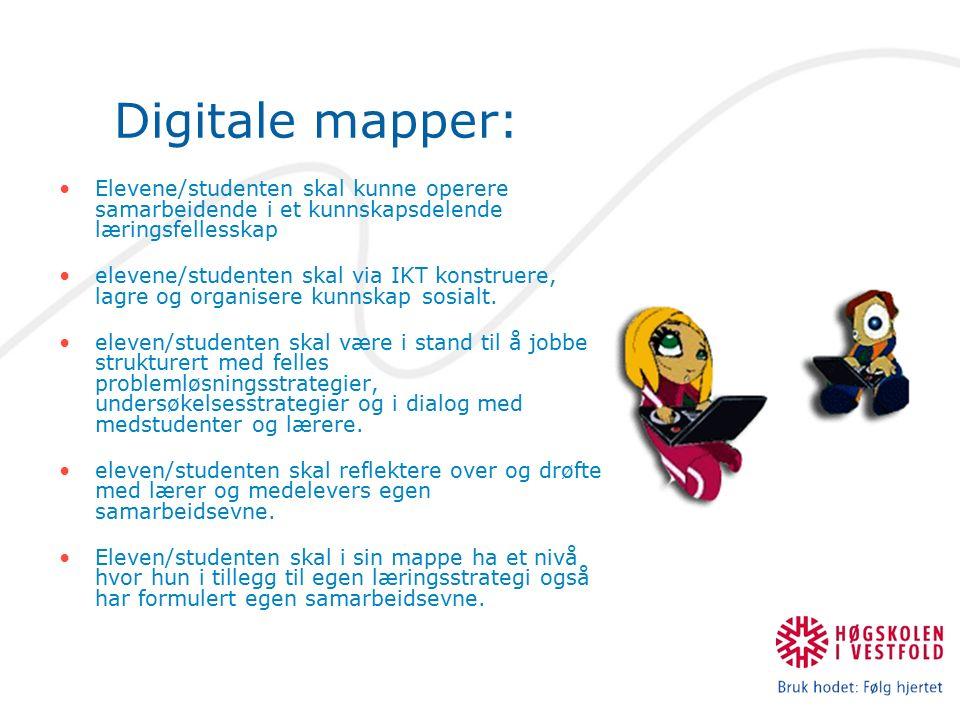 Digitale mapper: Elevene/studenten skal kunne operere samarbeidende i et kunnskapsdelende læringsfellesskap elevene/studenten skal via IKT konstruere, lagre og organisere kunnskap sosialt.