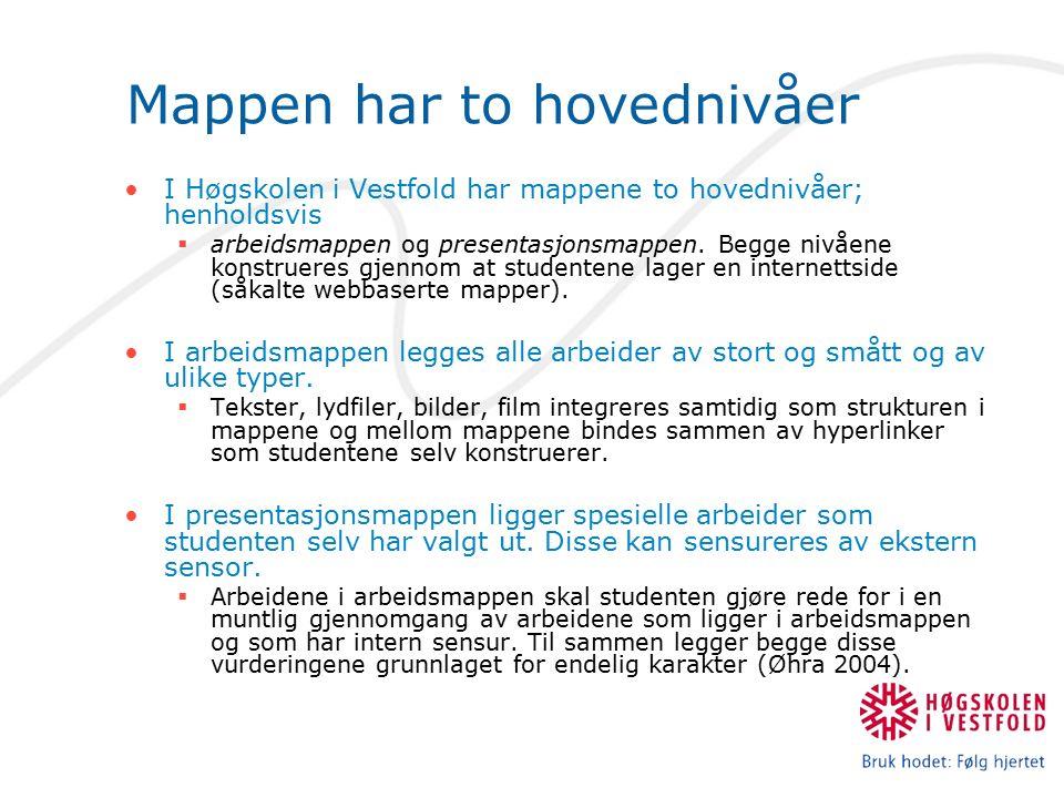 Mappen har to hovednivåer I Høgskolen i Vestfold har mappene to hovednivåer; henholdsvis  arbeidsmappen og presentasjonsmappen.