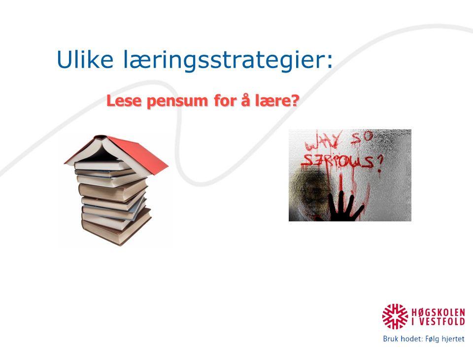 Ulike læringsstrategier: Lese pensum for å lære