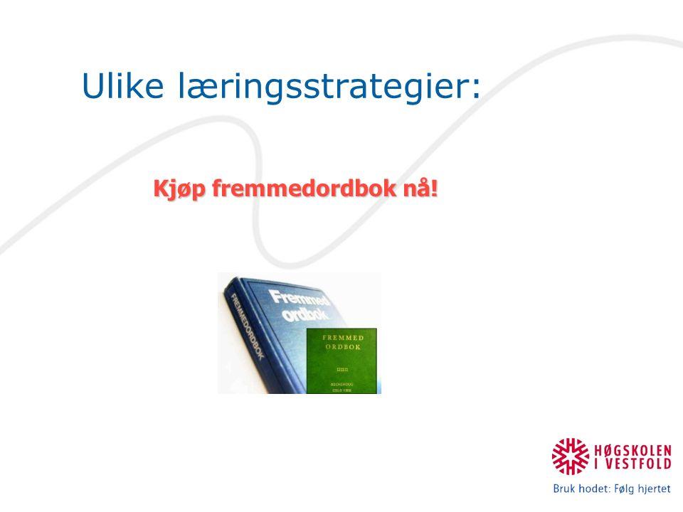 Ulike læringsstrategier: Kjøp fremmedordbok nå!