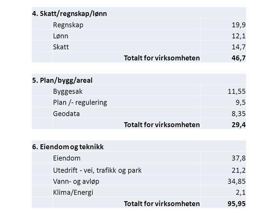 4. Skatt/regnskap/lønn Regnskap19,9 Lønn12,1 Skatt14,7 Totalt for virksomheten46,7 5.