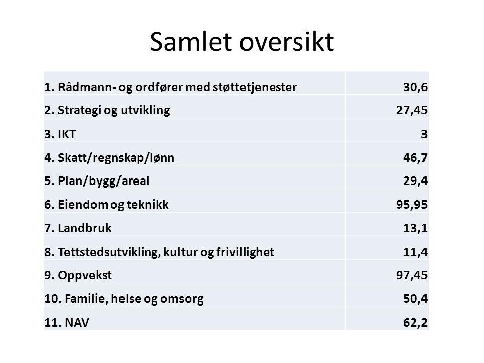 Samlet oversikt 1. Rådmann- og ordfører med støttetjenester30,6 2.