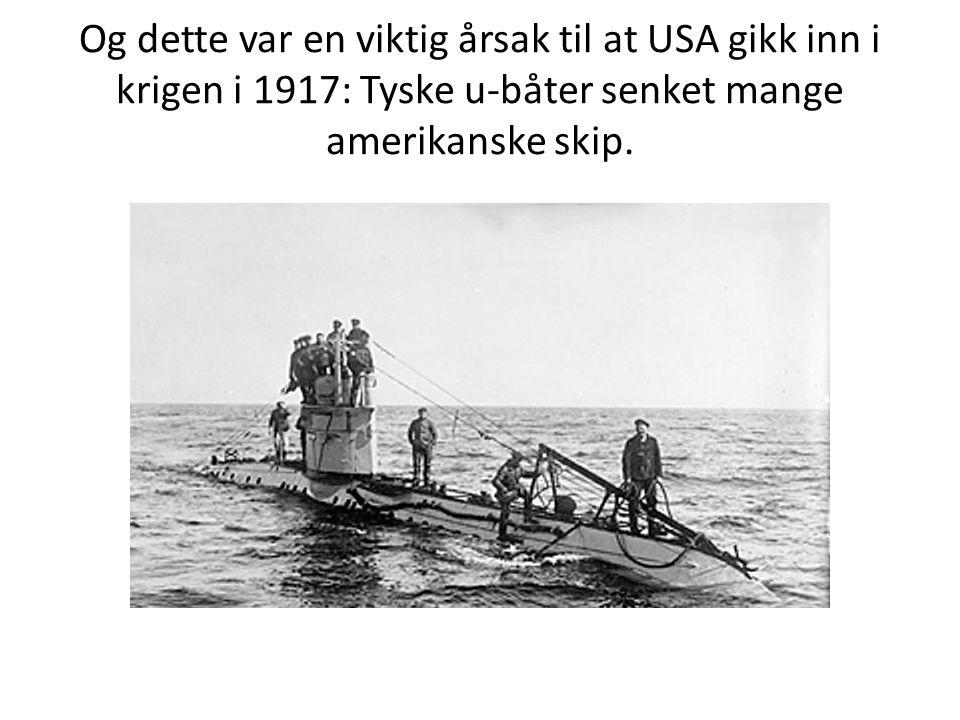Og dette var en viktig årsak til at USA gikk inn i krigen i 1917: Tyske u-båter senket mange amerikanske skip.
