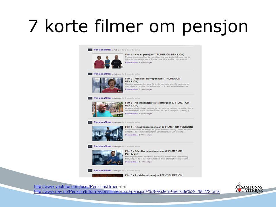 Animasjonsfilm om opptjening og uttak av folketrygdens alderspensjon http://elaring.nav.no/pensjon/alderspensjon.