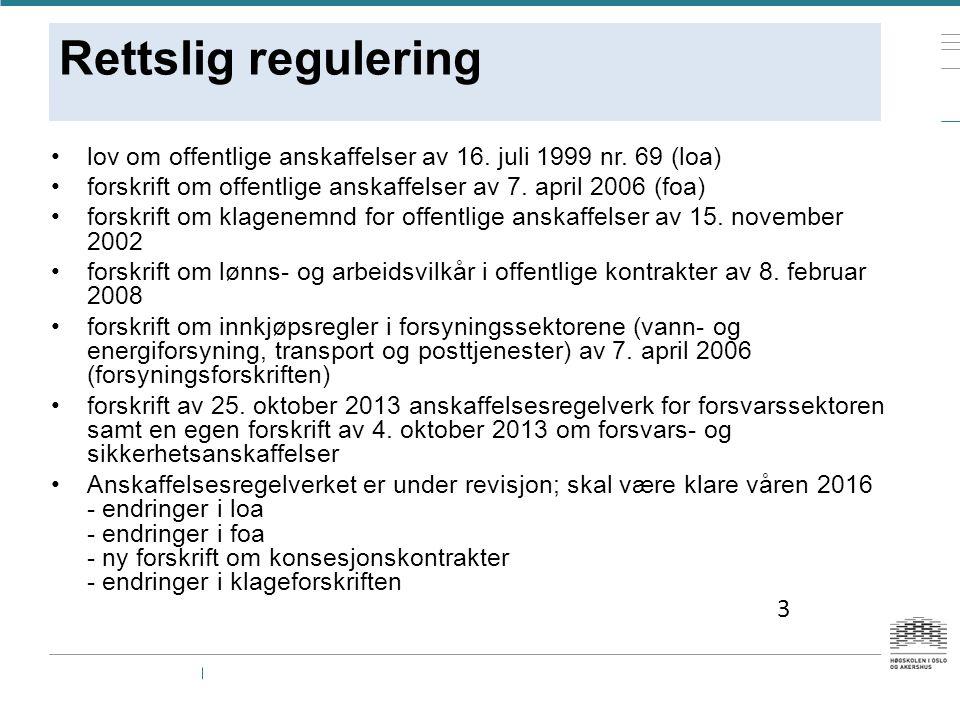 Rettslig regulering lov om offentlige anskaffelser av 16.