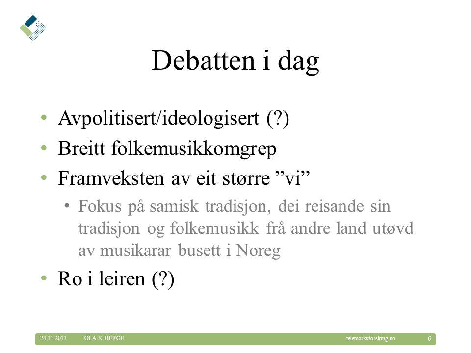 © Telemarksforsking telemarksforsking.no Kva meinast med kulturpolitikk.