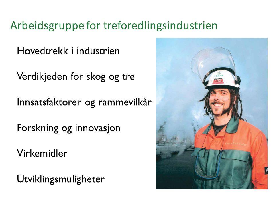 Arbeidsgruppe for treforedlingsindustrien Hovedtrekk i industrien Verdikjeden for skog og tre Innsatsfaktorer og rammevilkår Forskning og innovasjon Virkemidler Utviklingsmuligheter