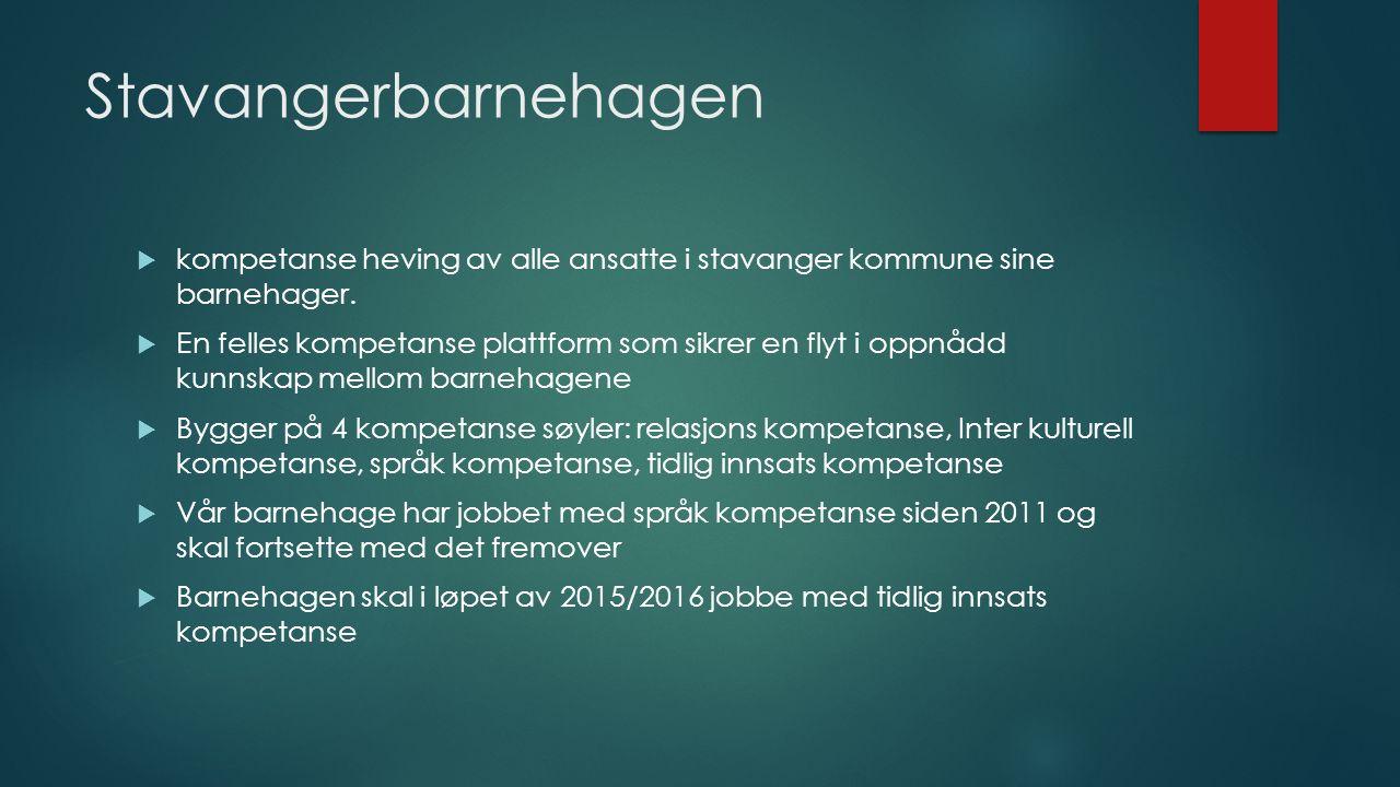 Stavangerbarnehagen  kompetanse heving av alle ansatte i stavanger kommune sine barnehager.  En felles kompetanse plattform som sikrer en flyt i opp