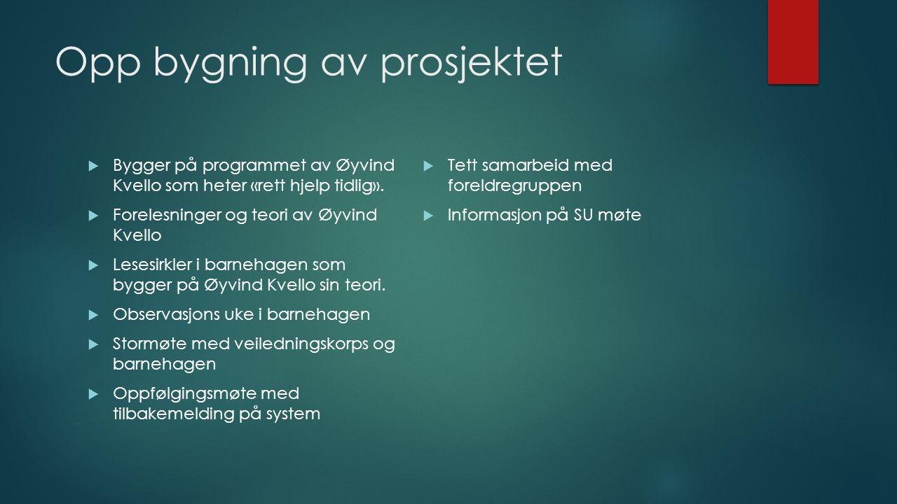 Opp bygning av prosjektet  Bygger på programmet av Øyvind Kvello som heter «rett hjelp tidlig».  Forelesninger og teori av Øyvind Kvello  Lesesirkl