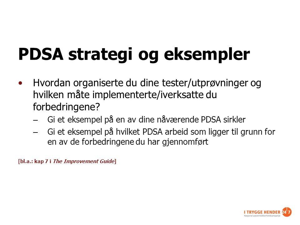 PDSA strategi og eksempler Hvordan organiserte du dine tester/utprøvninger og hvilken måte implementerte/iverksatte du forbedringene? – Gi et eksempel