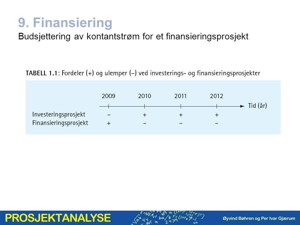 9. Finansiering Budsjettering av kontantstrøm for et finansieringsprosjekt