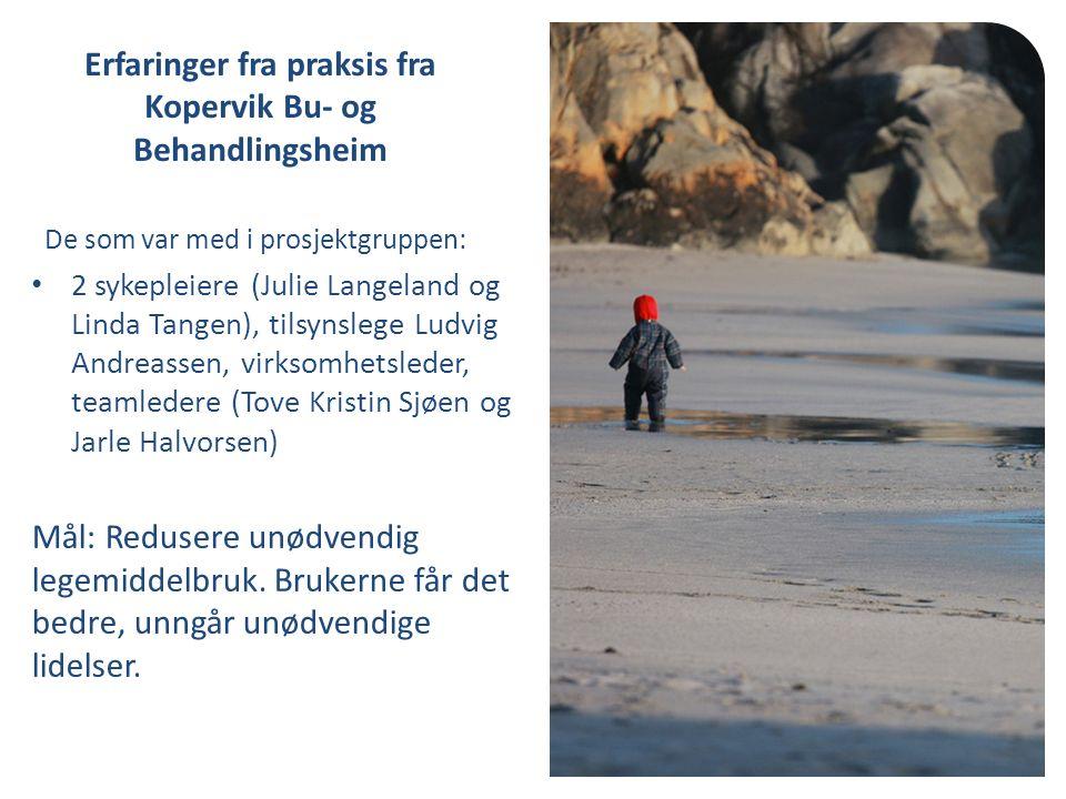 De som var med i prosjektgruppen: 2 sykepleiere (Julie Langeland og Linda Tangen), tilsynslege Ludvig Andreassen, virksomhetsleder, teamledere (Tove Kristin Sjøen og Jarle Halvorsen) Mål: Redusere unødvendig legemiddelbruk.